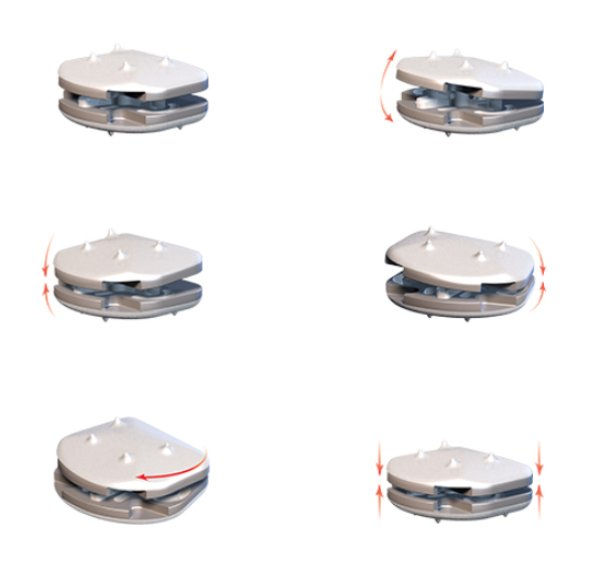 Figura 2 – Mobilidade da prótese de disco cervical
